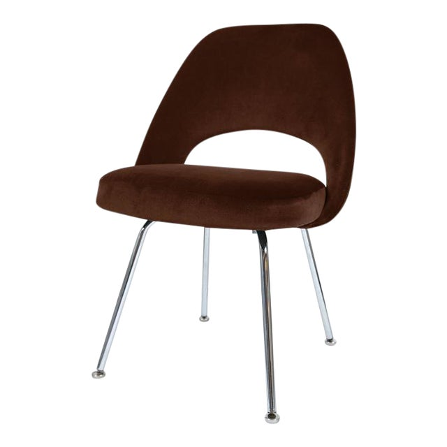 Saarinen Executive Armless Chairs in Espresso Brown Velvet, Set of Six - Image 1 of 4