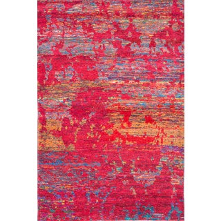 Hand-Knotted Silk Sari Rug - 5′3″ × 8′