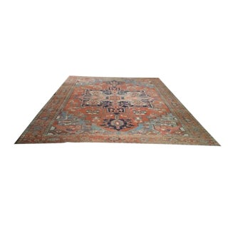Antique Grand Medallion Persian Serapi Hand Made Rug - 10′3″ X 12′8″ - Size Cat. 9x12 10x14