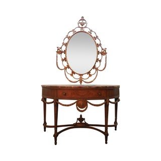 Marquetry Inlaid Adams Style Console with Mirror