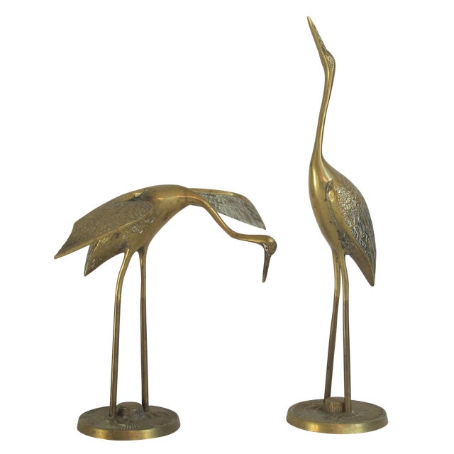 Hollywood Regency Brass Cranes on Stands - A Pair - Image 1 of 4