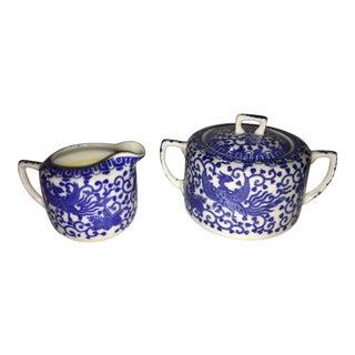 Blue & White Japanese Porcelain Creamer & Sugar Bowl - A Pair