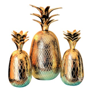 Hollywood Regency Pineapple Brass Containers - Set of 3