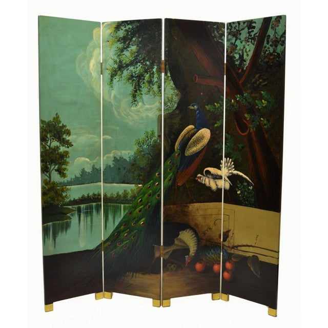 Ornate Landscape Four Panel Screen - Image 1 of 4