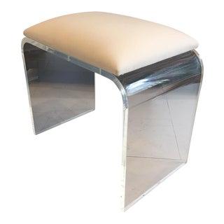 White Cotton Seat Lucite Bench