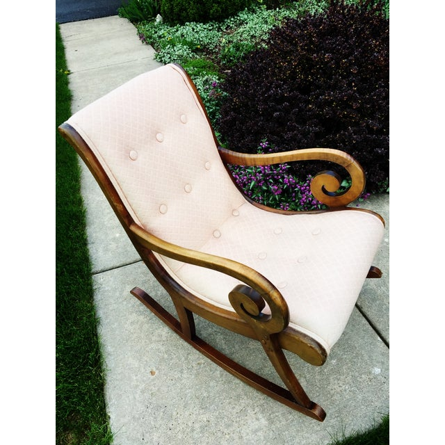 1940's French Rocking Chair - Wood Curved Arms - Image 7 of 8