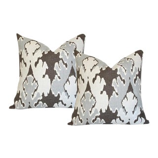 "Bengal Bazaar Grey Pillow Covers - a Pair 20"" Sq"