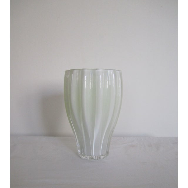 Image of White And Neon Yellow Crystal Vase