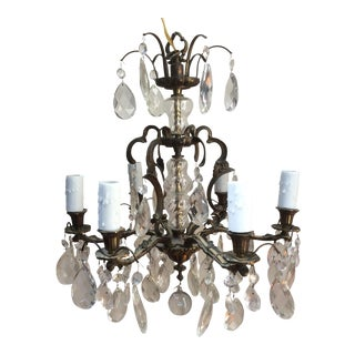 Crystal and Bronze Chandelier With Glass Swirl