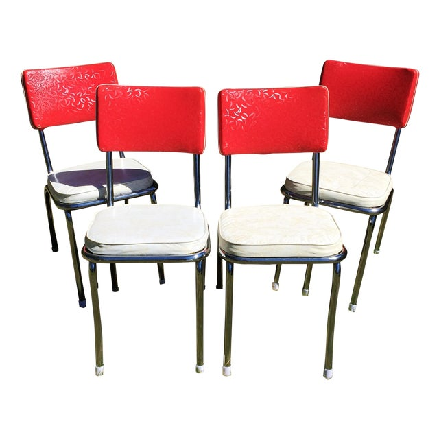 Set Of 4 Kitchen Chairs: Vintage Vinyl Chrome Kitchen Chairs - Set Of 4