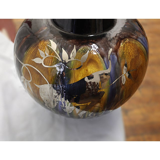 Image of Vintage Glazed Lamp with Silver Antelope Motif