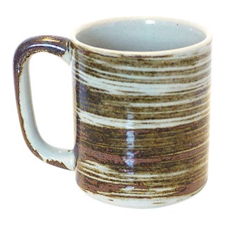 Vintage Brown & White Stoneware Mug
