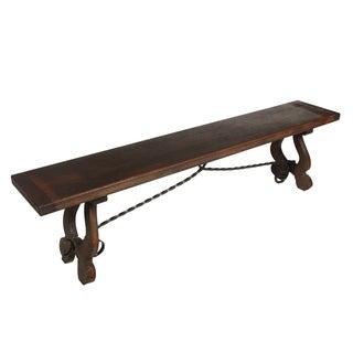 Baroque-Style Oak & Iron Trestle Bench