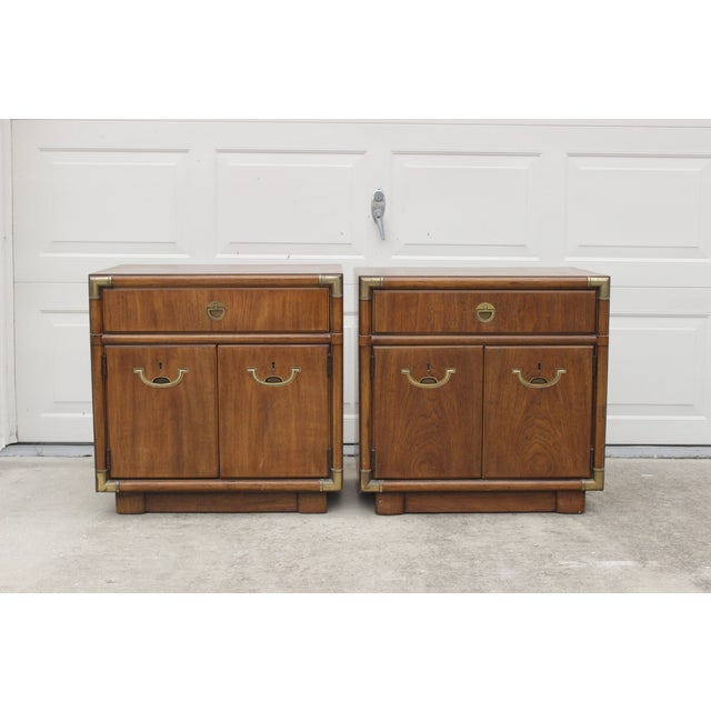 Image of Drexel Accolade Campaign Nightstands - A Pair
