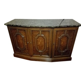 Henredon Sideboard Console Silver Cabinet W/Granite Stone Top