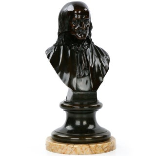 Traditional French Patinated Bronze Sculpture of Benjamin Franklin Bust
