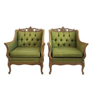 Green Tufted Club Chairs- A Pair