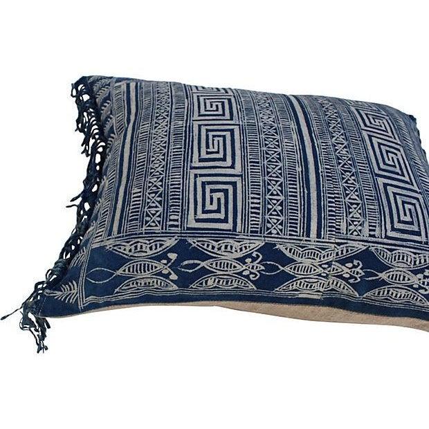 Image of Indigo Batik Fringe Pillow