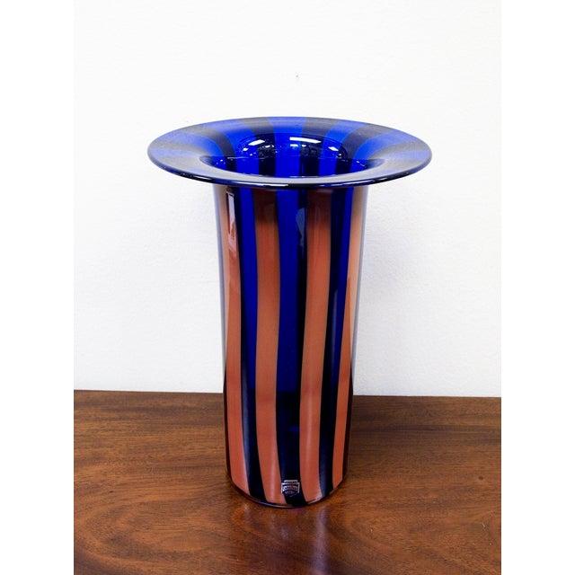Cenedese Vintage Vetri Murano Glass Striped Vase - Image 3 of 7