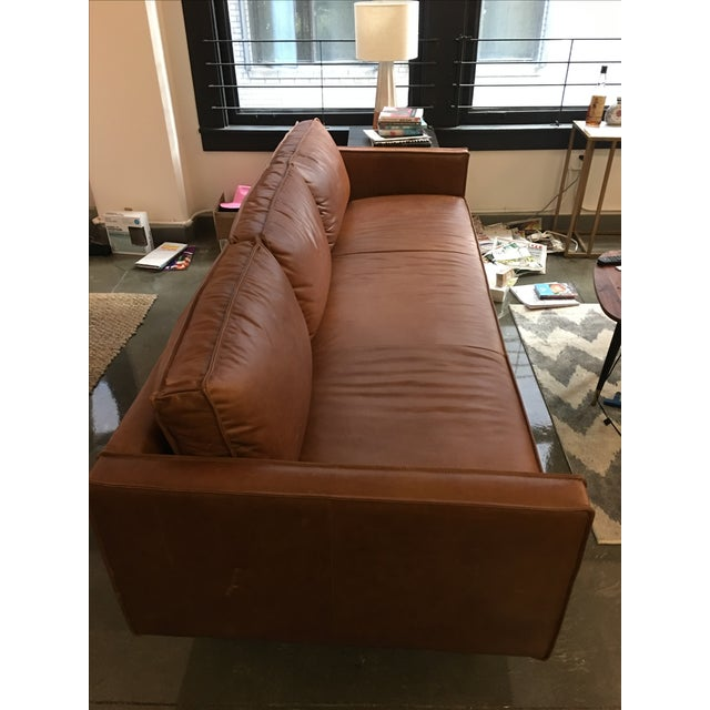 Axel West Elm Leather Couch - Image 3 of 5