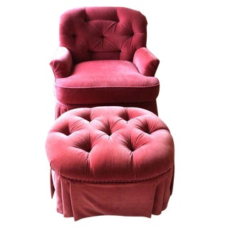 Hollywood Regency Tufted Lounge Chair & Ottoman - A Pair