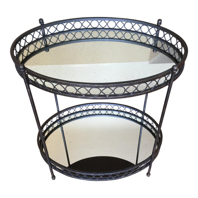 Dark Brass Mirrored Bar Cart - Image 1 of 3