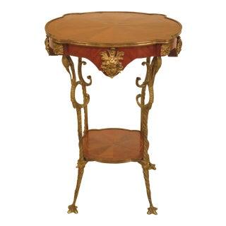 French Bronze Leg Walnut Occasional Table