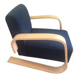Alvar Aalto Bentwood Black Upholstered Tank Chair