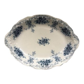 English Flow Floral Blue & White Platter