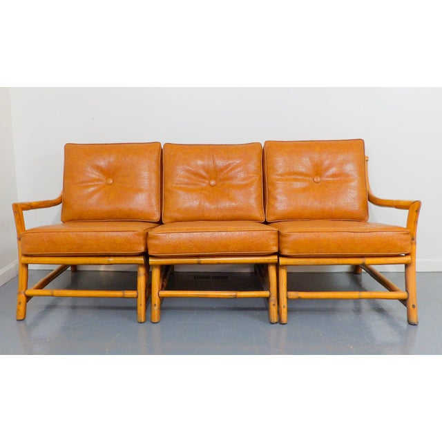 Vintage Naugahyde Mid-Century Modern Bamboo & Brown Vinyl Sofa Set - 3 Pcs. - Image 8 of 11