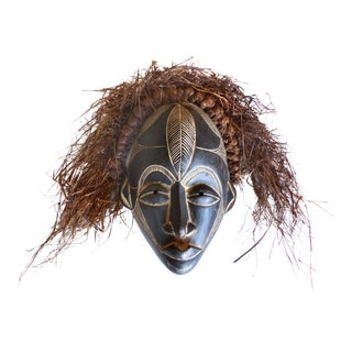 Bamileke Carved Mask With Raffia Hair