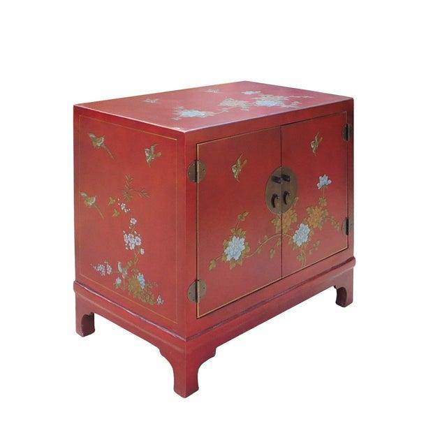 Oriental Red Vinyl Flower Side Table Cabinet - Image 3 of 7
