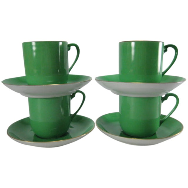 Green Demitasse Cups & Saucers by Morimura - 8 Pieces - Image 1 of 11