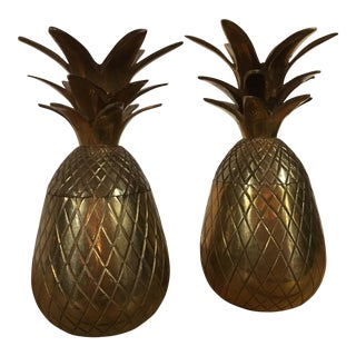 Vintage Brass Pineapple Trinket Jars - A Pair