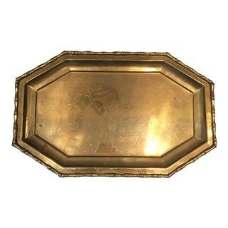 Octagonal Brass Bamboo Textured Tray