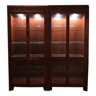 Asian Modern Walnut Lighted Cabinets - A Pair