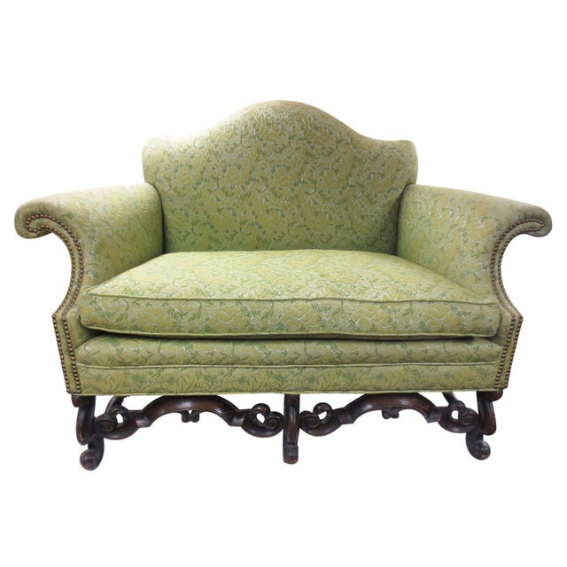 Lime Green Loveseat on Carved Stretchers - Image 1 of 10