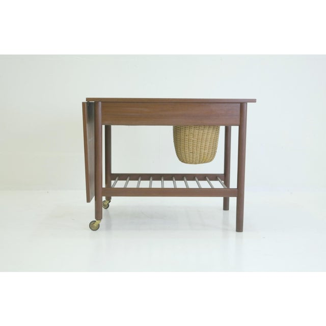 Image of 1950's Danish Teak Sewing Side Table Organizer