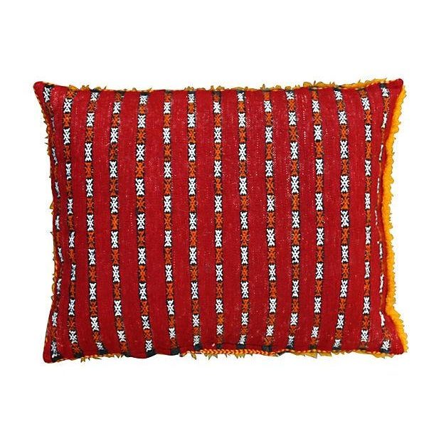 Orange Grid & Sequins Berber Pillow II - Image 3 of 3