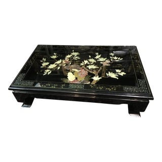 Asian Black Lacquer Coffee Table with Hardstone & Mother Of Pearl