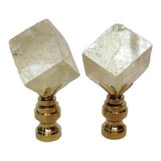 Clear Gold Crystal Chunk Finials - A Pair
