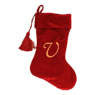 Embroidered Cranberry Christmas Stocking