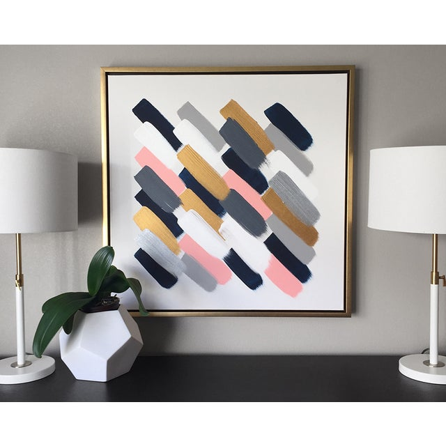 Image of Colored Rain Navy And Pink Painting