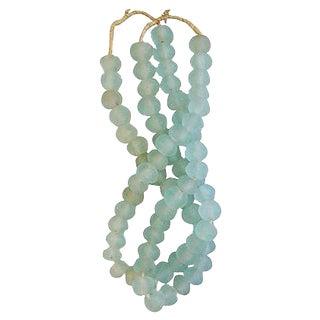 Icy Teal Jumbo Sea Glass Beads - Set of 2