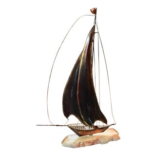 Marble & Decorative Metal Sailboat Sculpture