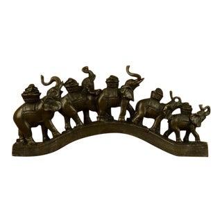 """Elephants Crossing Bridge of $100 US Bill"" Sculpture"