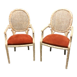 Pair Of Italian Carved Beech Wood Leather Suede Side Chairs