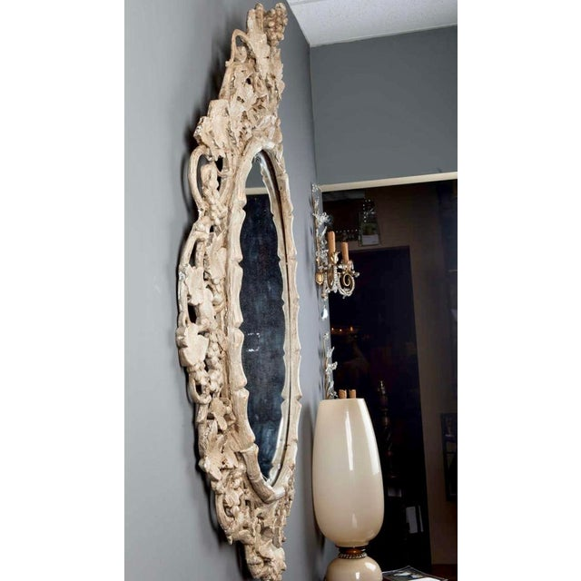 Large 1930's French Beveled Oval Mirror With Carved Grape Vines - Image 7 of 7