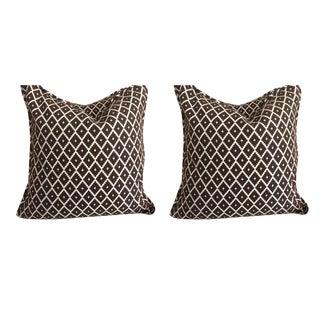 Manuel Canovas Pillows in Chocolate Brown & Cream - a Pair