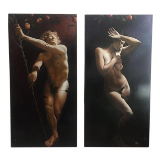 "Vance Britenriker ""Temptation Adam & Eve"" Signed Original Diptych Painting, Oil on Canvas"
